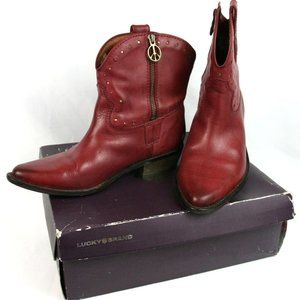 Lucky Brand Chantel Leather Western Boots Booties